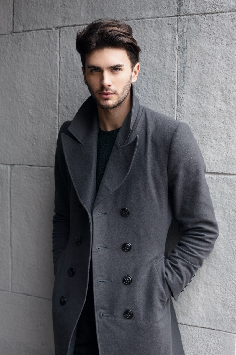 Male Model Grey Coat Hairstyle