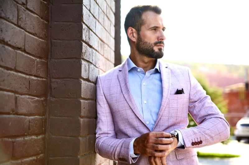 Male Model Pink Suit Watch Dapper