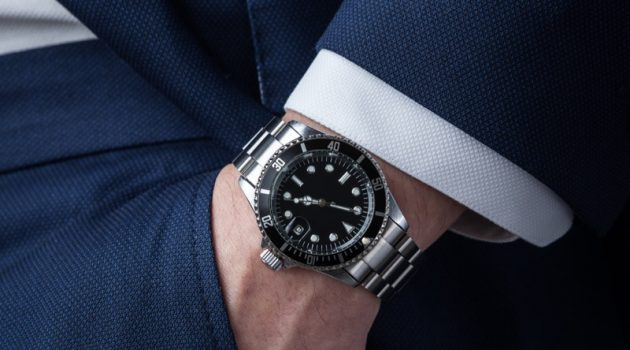 Man Wearing Silver Rolex Watch Suit Closeup
