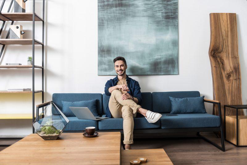 Man in Stylish Living Room