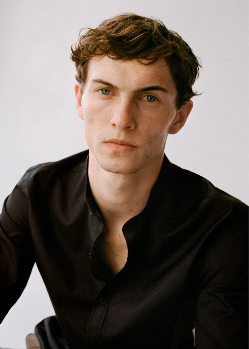 Ready for his close-up, model Luc Defont-Saviard wears Mango.