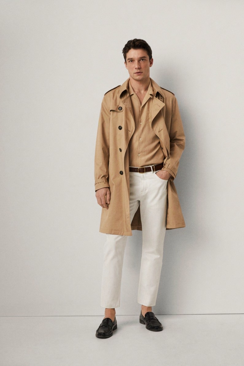 Embracing neutrals, Alexis Petit dons a trench coat from Mango.