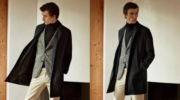 Model Lukas Adriaensens showcases sleek contemporary style from Massimo Dutti.