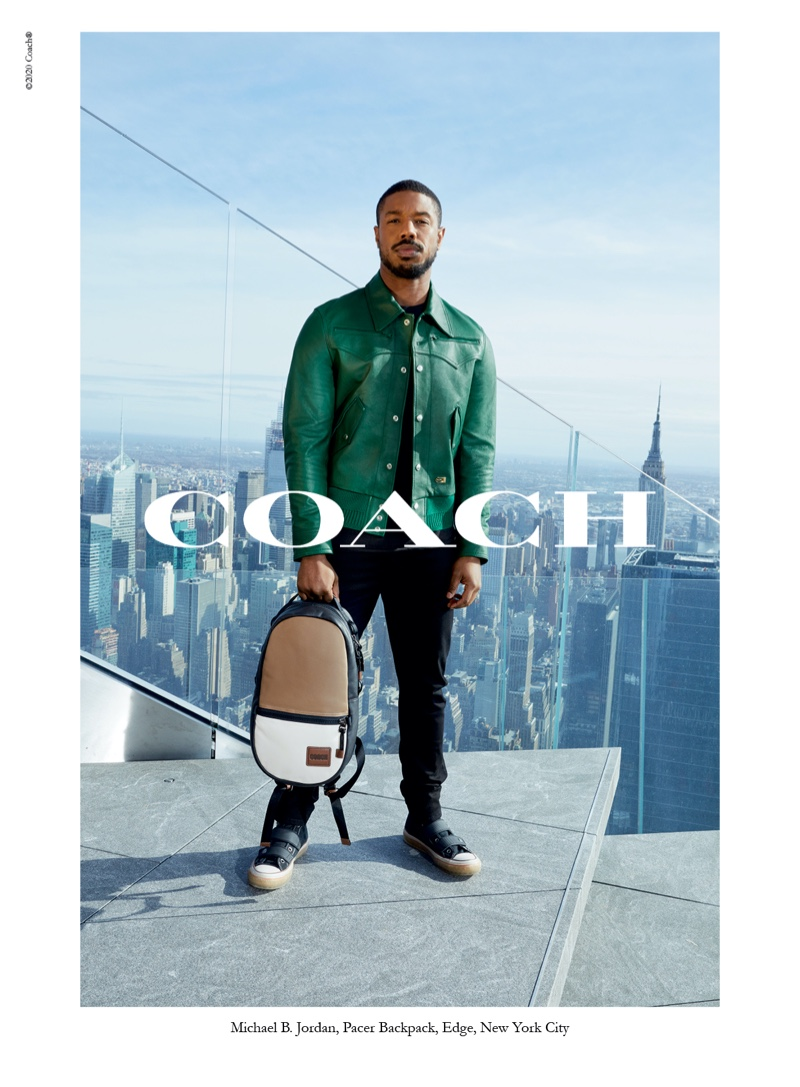 Michael B. Jordan sports a green leather jacket for Coach's  spring-summer 2020 campaign.