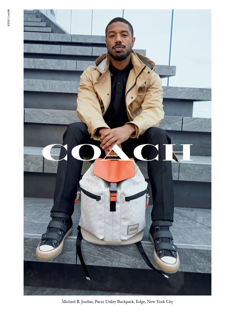 Posing with Coach's Pacer utility backpack, Michael B. Jordan stars in the brand's spring-summer 2020 campaign.