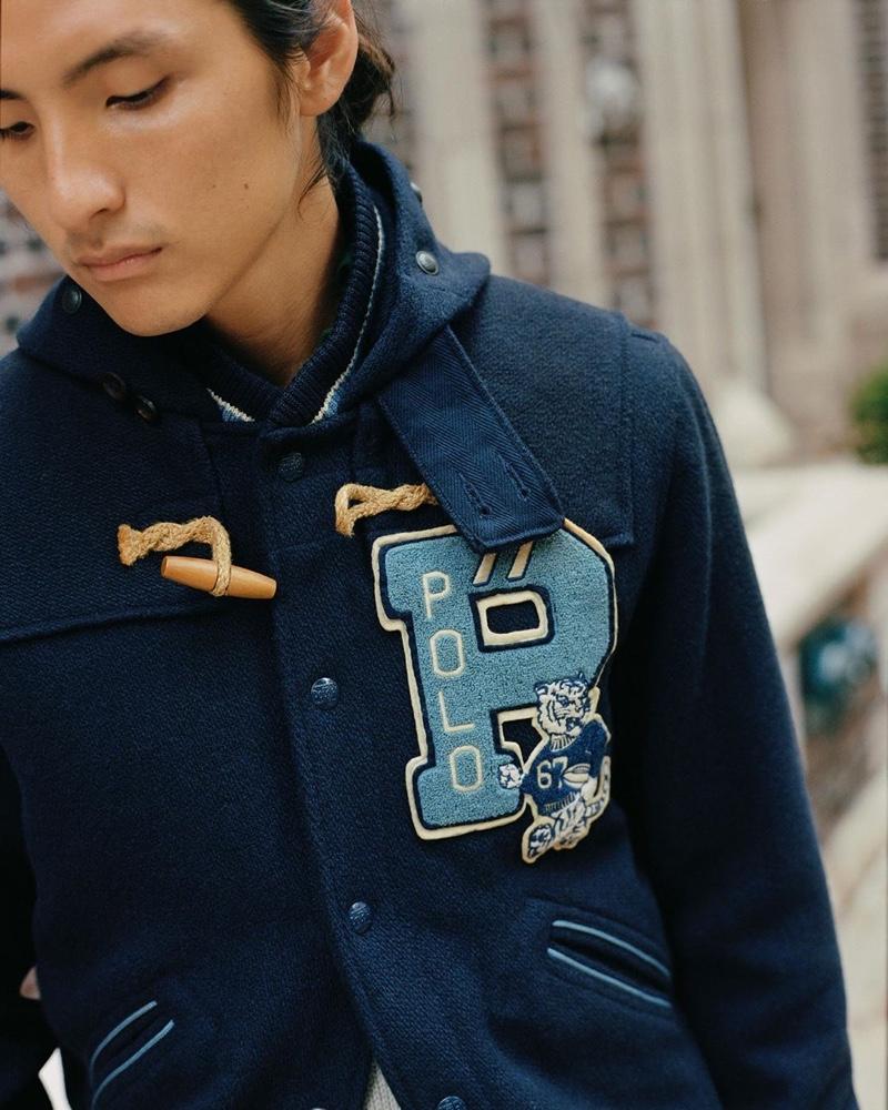 Masamichi Nyunoya wears a jacket from POLO Ralph Lauren's spring-summer 2020 collection.