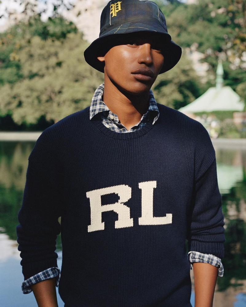 Timothy Lewis sports a plaid bucket hat and RL sweater from POLO Ralph Lauren's spring-summer 2020 collection.