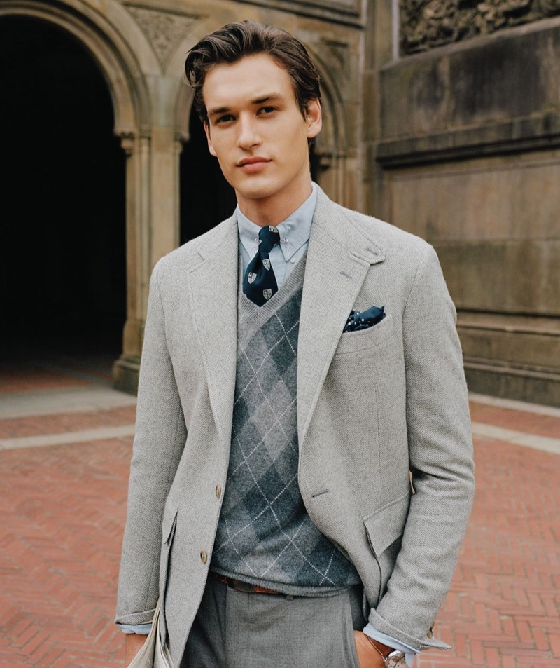 Embracing shades of grey, Jegor Venned models a spring-summer 2020 look from POLO Ralph Lauren.
