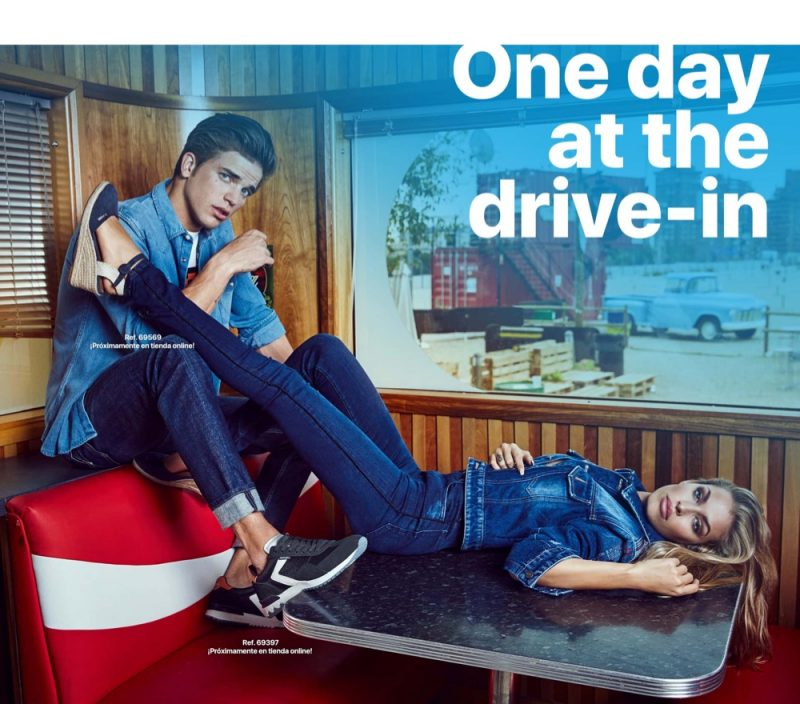 Clad in denim, River Viiperi and Jessica Goicoechea front Refresh Shoes' spring-summer 2020 campaign.