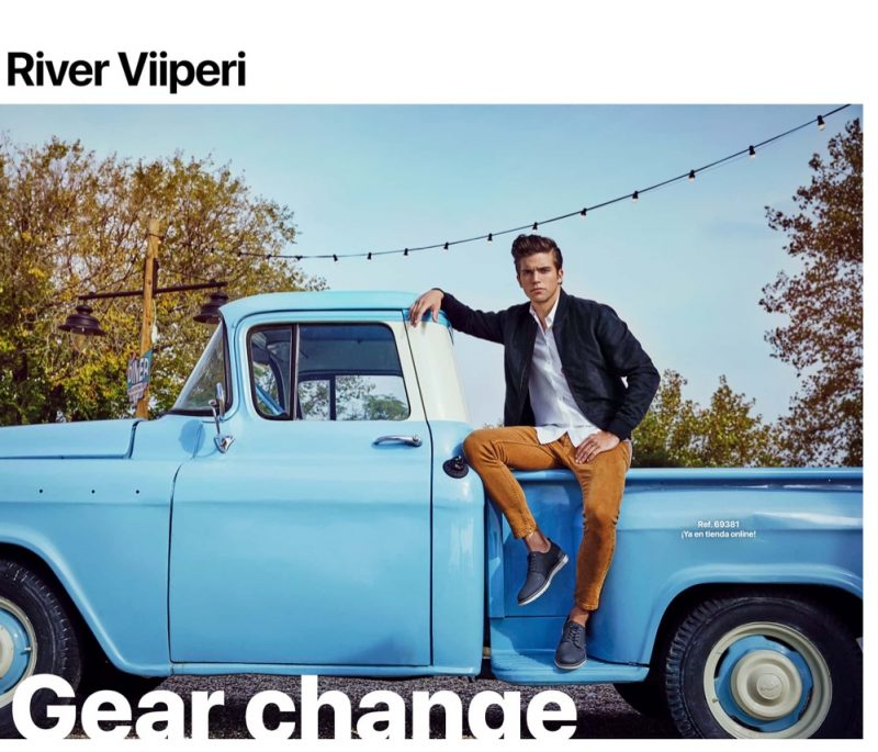 Posing with a vintage pickup truck, River Viiperi appears in Refresh Shoes' spring-summer 2020 campaign.
