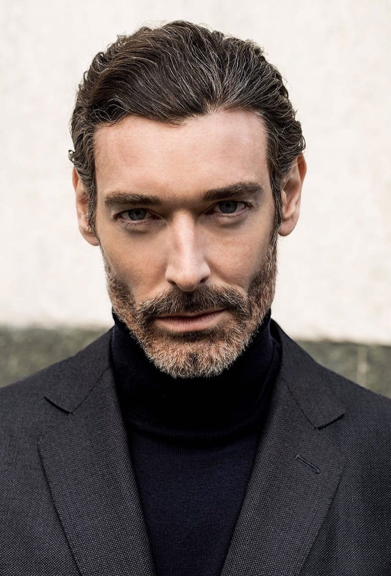 Front and center, Richard Biedul dons Massimo Dutti menswear.