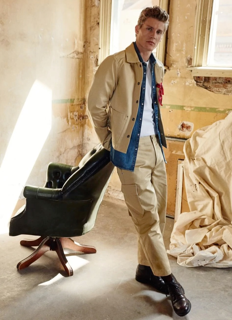 Mikkel Jensen makes a case for monochromatic style in a Scotch & Soda look that includes stone cargo pants.
