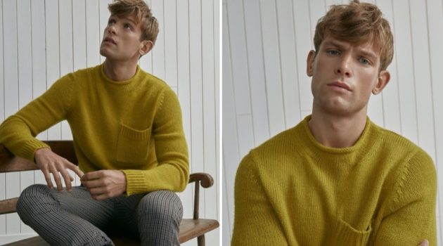 Elliott Reeder dons a smart LE 31 sweater, which features a chest pocket.