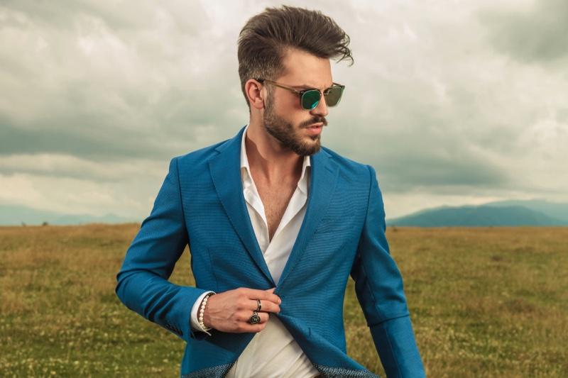 Stylish Man Blazer Sunglasses Rings White Button Down Shirt