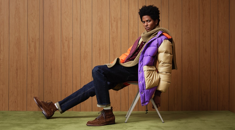 Making a colorful statement, Rafael Mieses sports a Crescent Down + Todd Snyder multicolor parka.