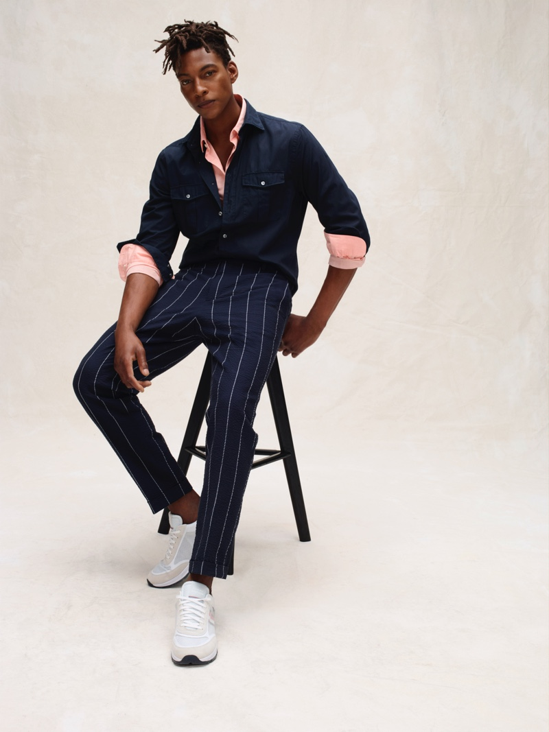 A smart vision, Ty Ogunkoya models fashions from Tommy Hilfiger Tailored's spring-summer 2020 collection.