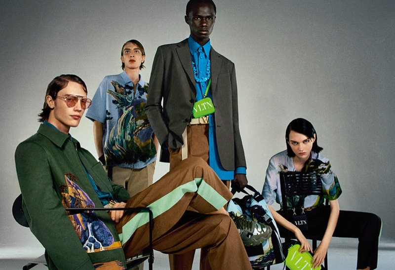 Freek Iven, Maikls Mihelsons, Malick Bodian, and Sofia Steinberg appear in Valentino's spring-summer 2020 campaign.