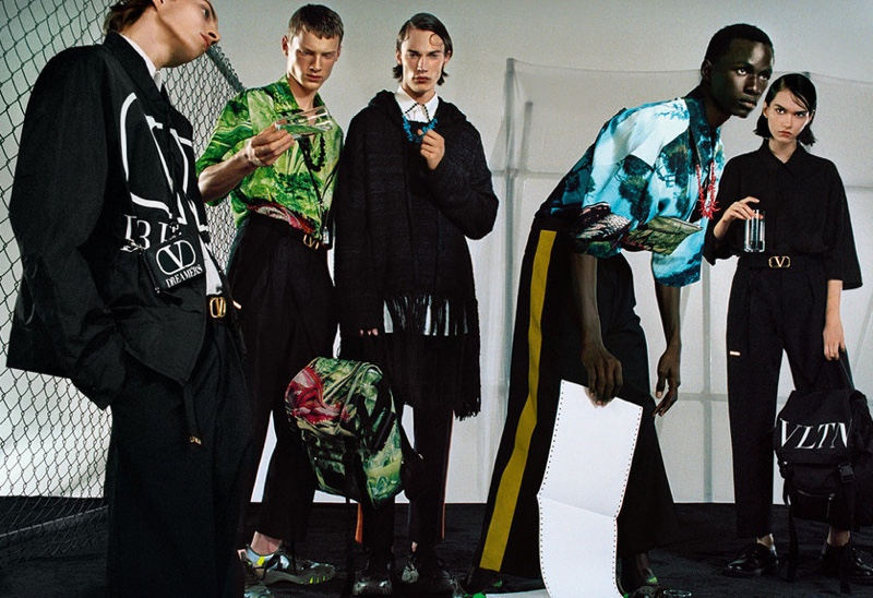 Models Maikls, Braien Vaiksaar, Freek Iven, Malick Bodian, and Sofia Steinberg come together for Valentino's spring-summer 2020 campaign.