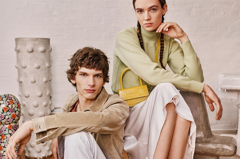 Models Erik Van Gils and Adrienne Jüliger wear looks from the 8 by YOOX spring-summer 2020 collection.