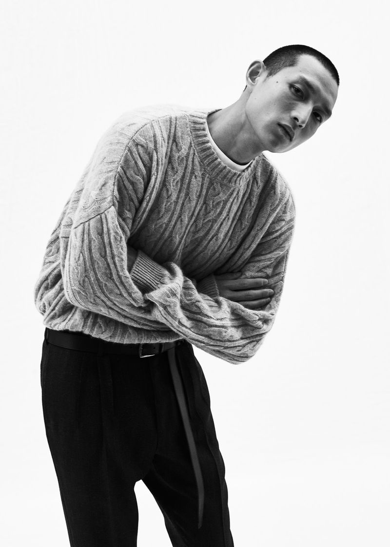 Zhang Wenhui sports a cable-knit sweater from Agnona's fall-winter 2020 collection.