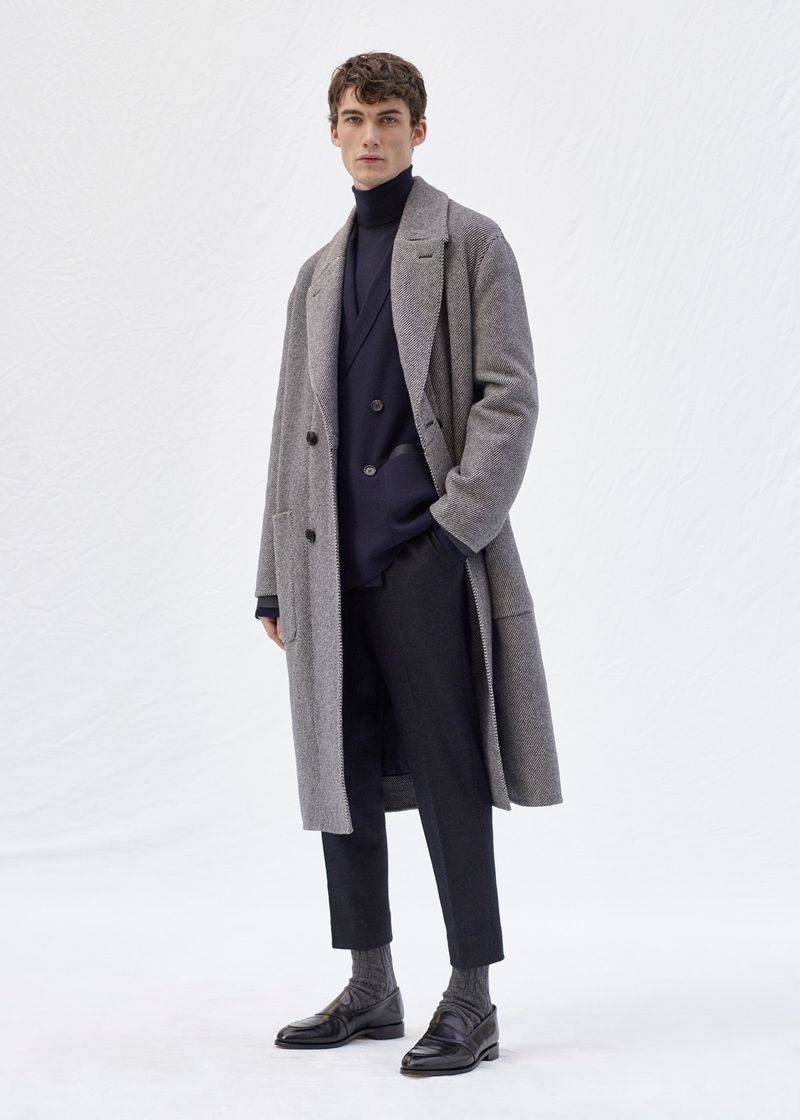 Lukas Adriaensens is impeccably dressed in a fall-winter 2020 ensemble from Agnona.