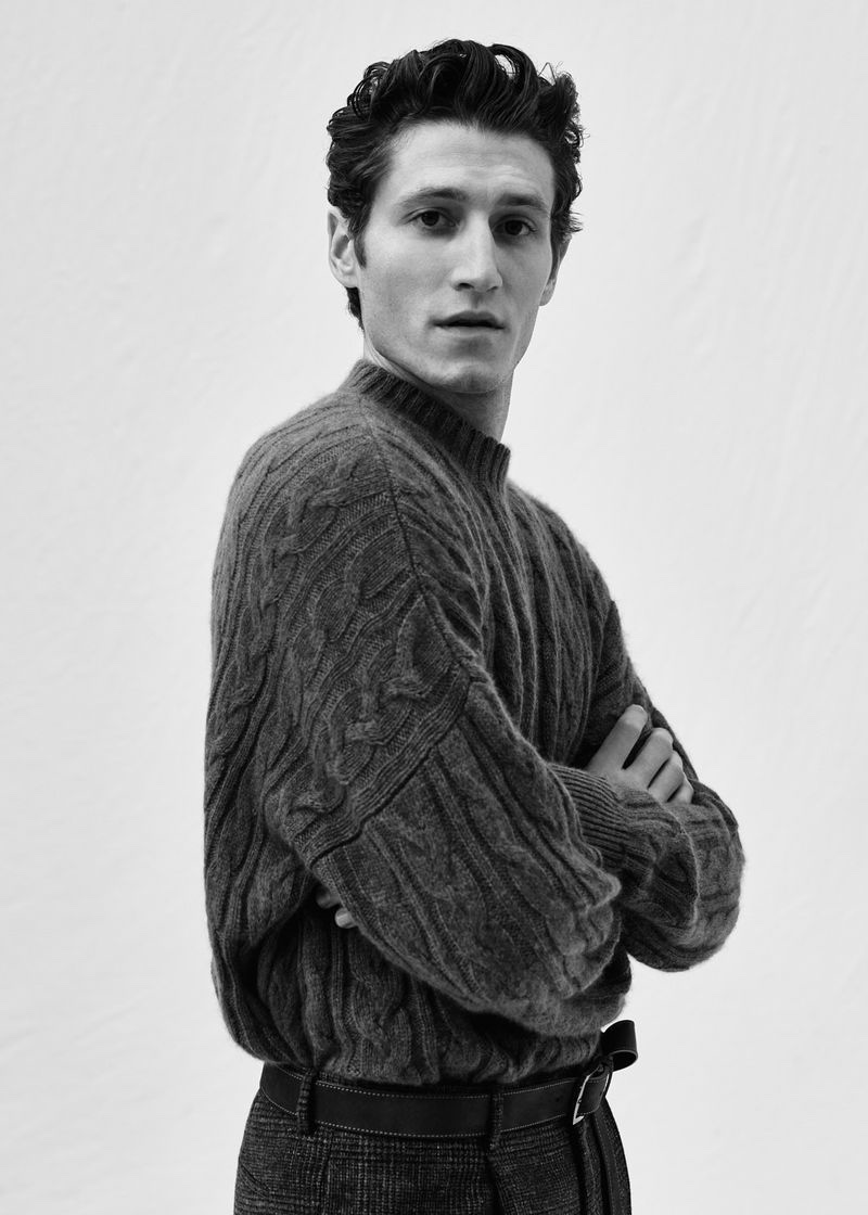 Wael Sersoub sports a fall-winter 2020 cable-knit sweater by Agnona.