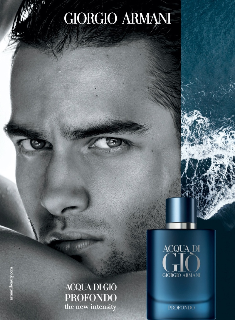 Model Aleksandar Rusić appears in a print advertisement for the Giorgio Armani Acqua di Gio Profondo fragrance.