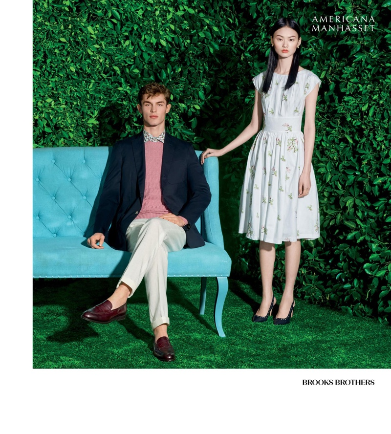 Models Kit Butler and He Cong wear spring looks from Brooks Brothers.