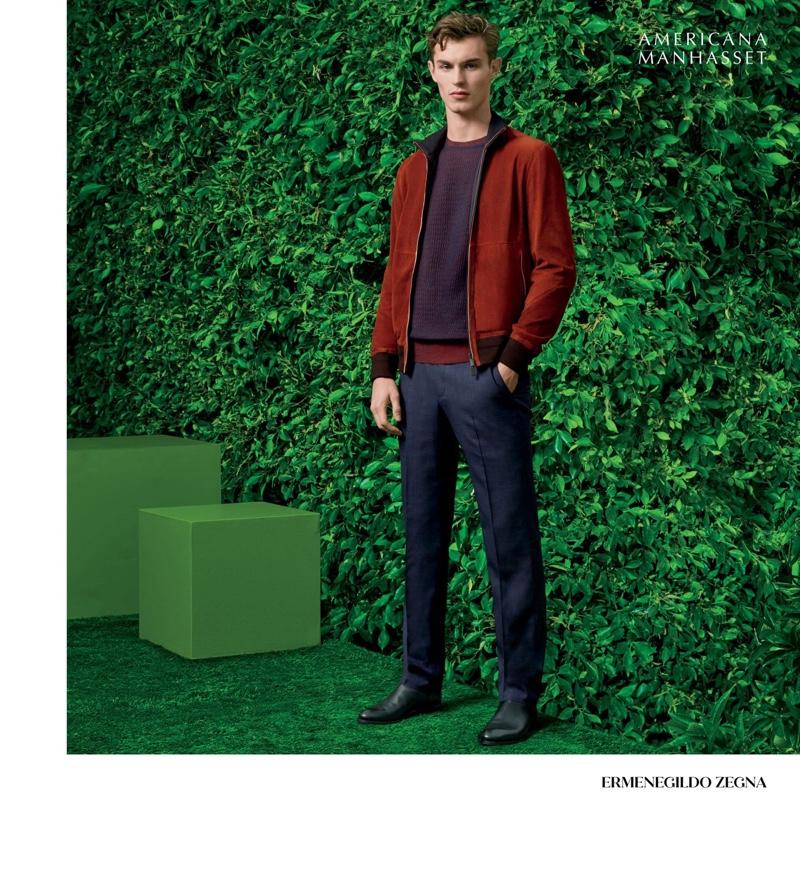 British model Kit Butler dons sensible style from Ermenegildo Zegna.