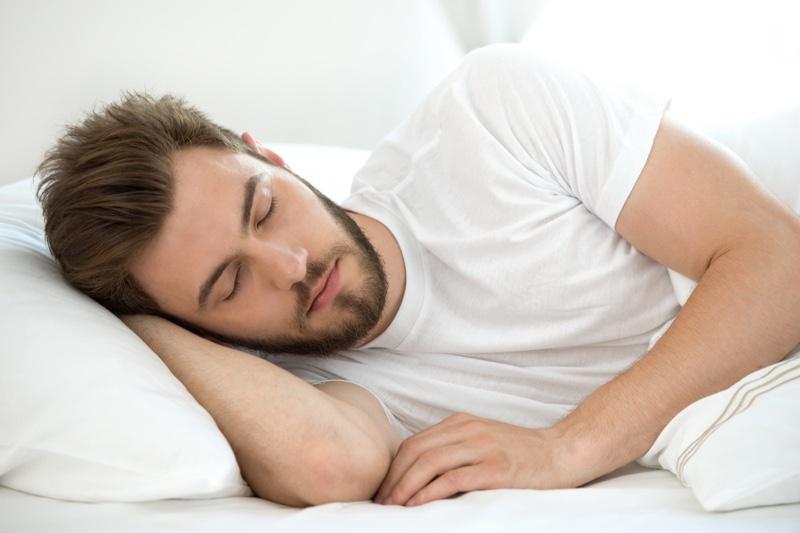 Attractive Man Sleeping Bed White Shirt