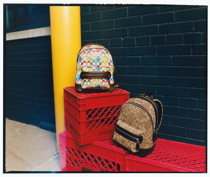 Backpacks from the Bape x Coach collection.