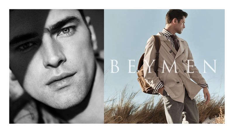 Donning a double-breasted jacket, Sean O'Pry appears in Beymen's spring-summer 2020 campaign.