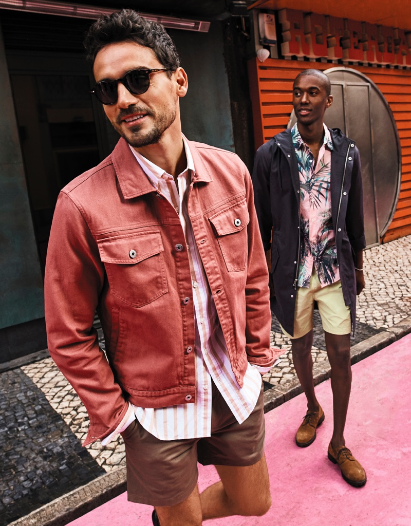Embracing casual style with a vacation twist, Arthur Kulkov and Claudio Monteiro model the latest from Bonobos.