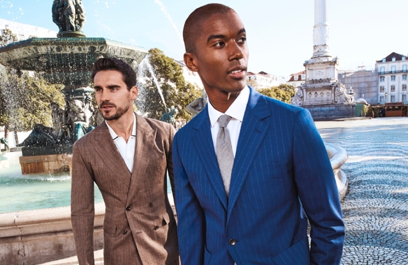 Arthur Kulkov and Claudio Monteiro don stylish suits from Bonobos' spring-summer 2020 collection.