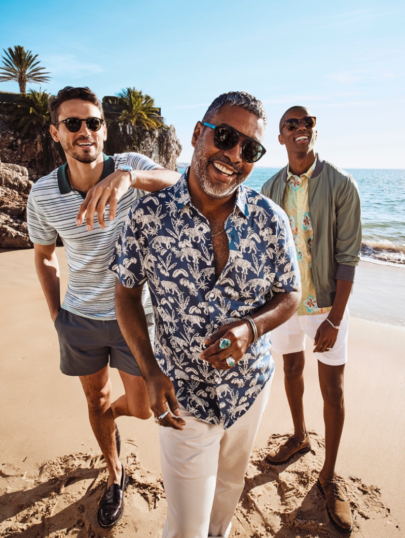 All smiles, Arthur Kulkov, Martin-Christopher Harper, and Claudio Monteiro take to the beach in spring-summer 2020 looks from Bonobos.