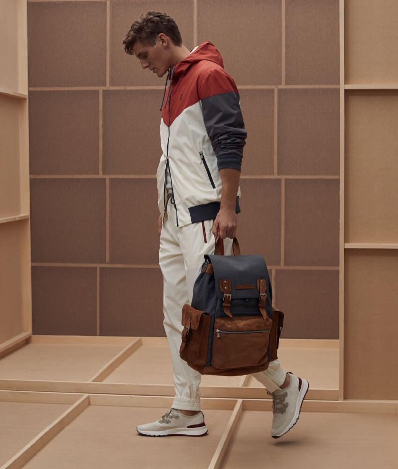Going sporty, Mikkel Jensen wears a spring look from Brunello Cucinelli.