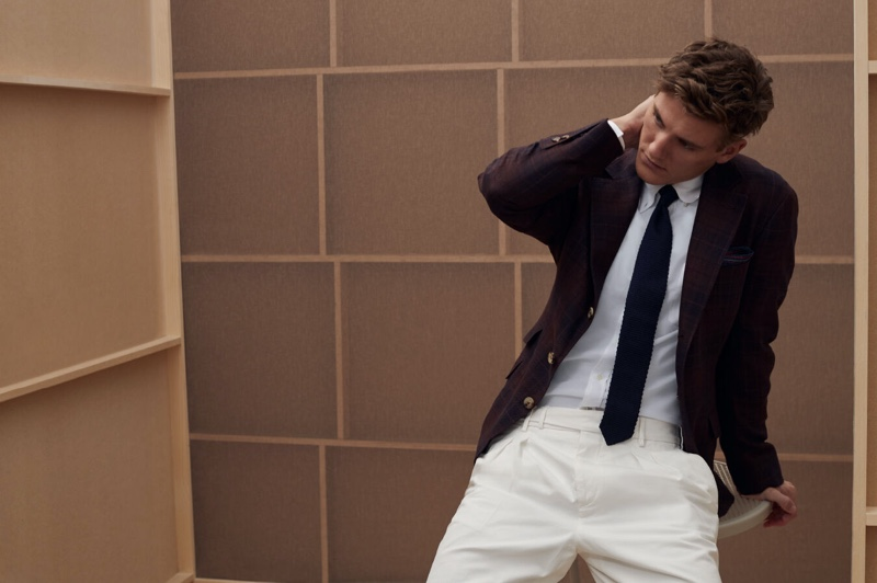 Connecting with Brunello Cucinelli, Mikkel Jensen dons a spring look from the brand.