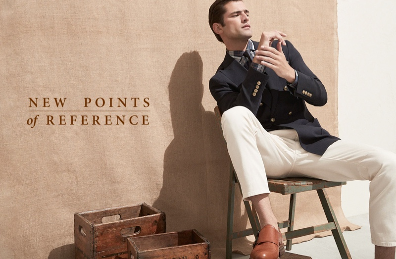 Sean O'Pry cleans up in dashing spring tailoring from Brunello Cucinelli.