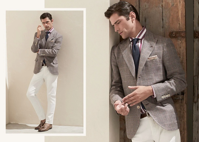 Brunello Cucinelli enlists the help of Sean O'Pry to bring attention to its sartorial wardrobe for spring.