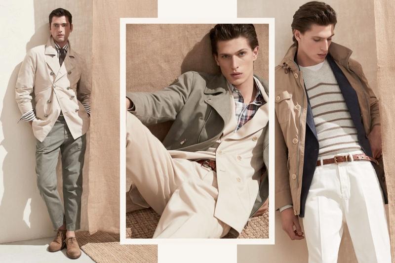 Models Sean O'Pry and Edoardo Sebastianelli don sleek looks from Brunello Cucinelli's spring-summer 2020 collection.