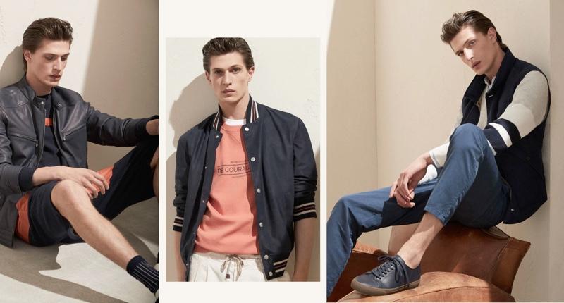 Offering a more casual approach to the season, Edoardo Sebastianelli models looks from Brunello Cucinelli.