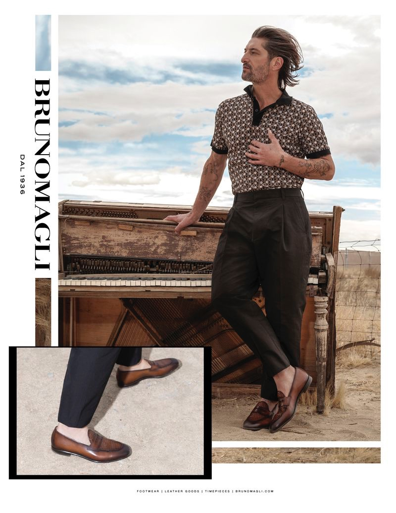 Tony Ward dons brown leather loafers for Bruno Magli's spring-summer 2020 campaign.
