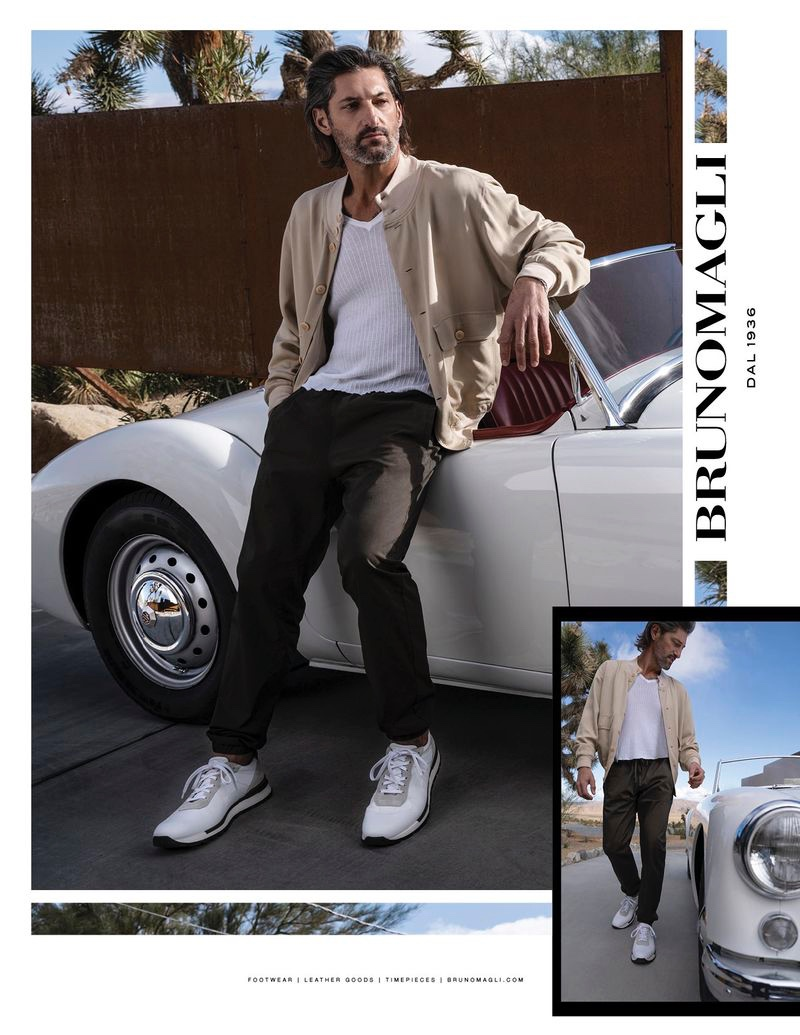 Sporting sneakers, Tony Ward fronts Bruno Magli's spring-summer 2020 campaign.
