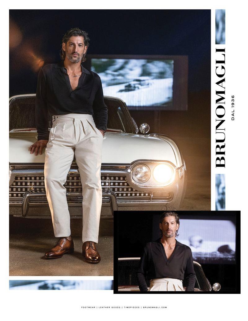 Model Tony Ward appears in Bruno Magli's spring-summer 2020 campaign.