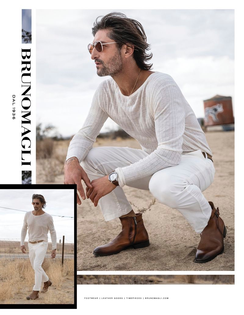 Embracing neutrals, Tony Ward completes his look with brown leather boots for Bruno Magli's spring-summer 2020 campaign.