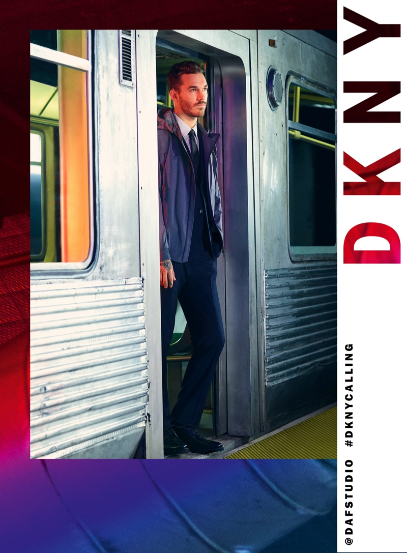 Taking to the subway, David Alexander Flinn appears in DKNY's spring-summer 2020 campaign.