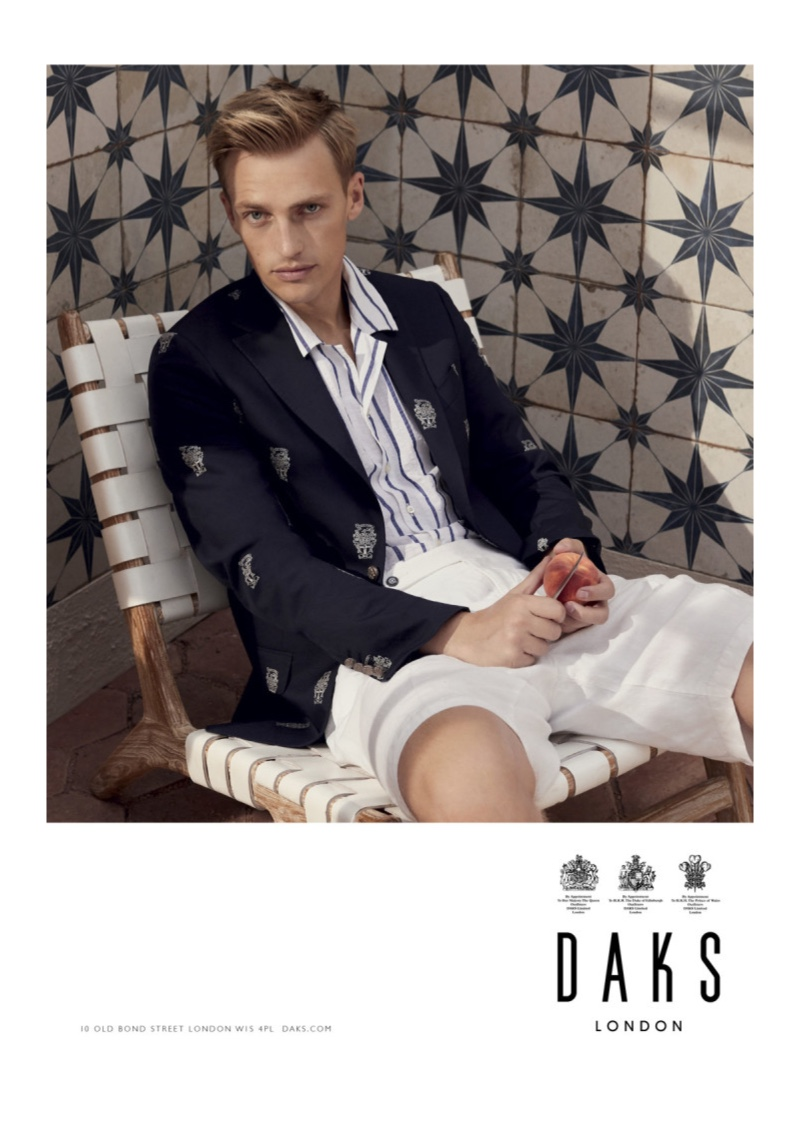 Embracing nautical style, Victor Nylander fronts Daks' spring-summer 2020 campaign.