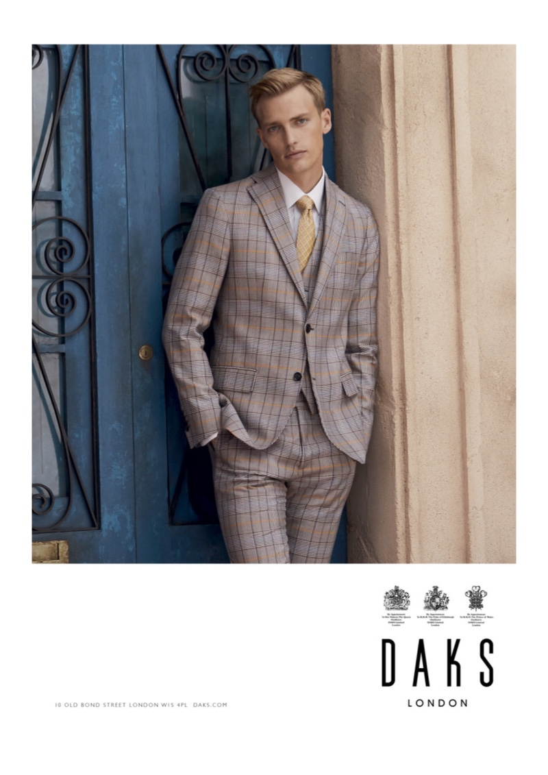 Donning a three-piece suit, Victor Nylander appears in Daks' spring-summer 2020 campaign.