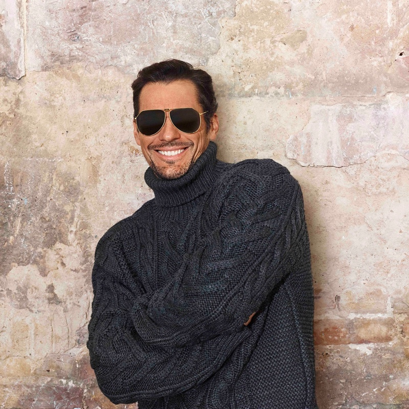 All smiles, David Gandy appears in Dolce & Gabbana's spring-summer 2020 eyewear campaign.
