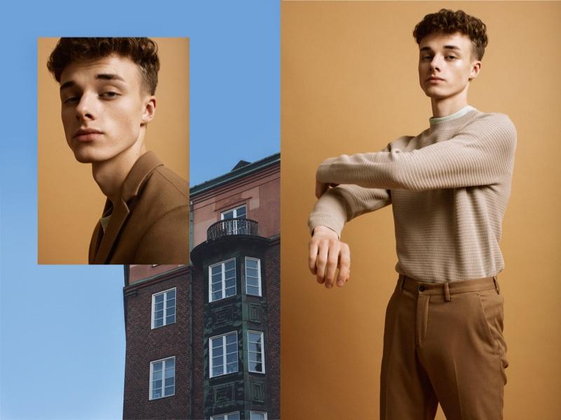 Left: Daniel wears suit jacket Zara and t-shirt COS. Right: Daniel wears trousers Zara, t-shirt and sweater COS.